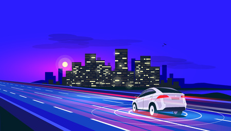 Vector illustration of smart autonomous driverless electric car driving on highway to the city. Radar sensors scanning distance. Road traffic with blurry lights and night city street glowing skyline.