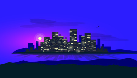 Night scene of city bank glowing skyscrapes skyline office buildings. Shadows and reflections on the water of riverside sea bay. Urban vector illustration with clouds ons sky and hills in the front. 向量圖像
