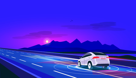 Vector illustration of smart autonomous driverless electric car driving on highway in nature mountain landscape. Lonely ride at night with empty road. Autopilot radar sensors scanning distance.