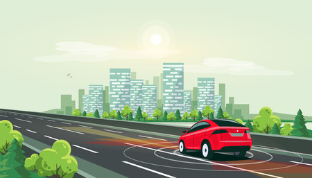 Vector illustration of smart autonomous driverless electric car driving on highway to downtown. Radar sensors scanning distance. Empty road traffic with city skyline riverside in background. 向量圖像