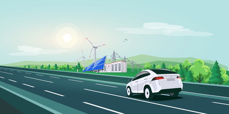 Vector illustration of electric car driving on empty highway road in nature sunset landscape. Renewable energy solar panels, wind turbines, battery storage, high voltage power grid in the background.