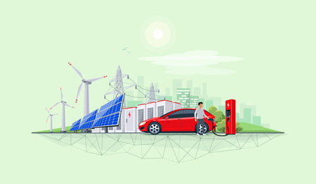 Flat vector illustration of renewable energy connected system. Electric car charging at charger station with solar panels, wind turbines, battery storage, high voltage power grid and city skyline. 向量圖像