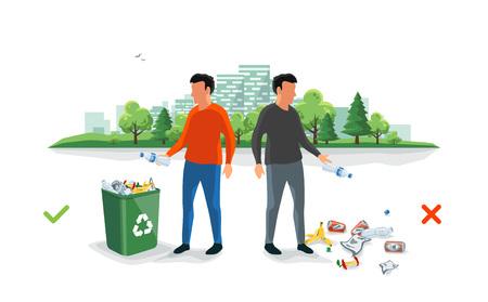 Richtige und falsche Müllabfuhr. Person, die unsachgemäß entsorgt hat, wirft Müll auf den Boden. Müll fällt auf den Straßenboden. Isolierte Cartoon-Illustration auf weißem Hintergrund.