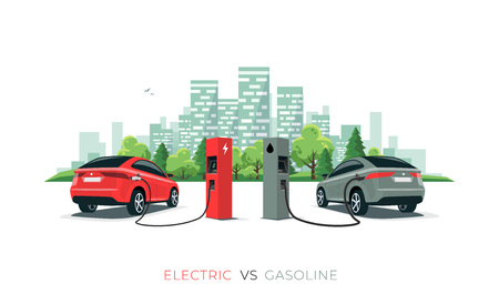 Elektro- versus Benzinauto-Suv. Laden von Elektroautos an der Ladestation im Vergleich zu fossilen Autos, die Benzin an der Tankstelle tanken. Vektorillustration mit der Skyline der Stadtgebäude, die auf weißem Hintergrund lokalisiert wird. Vektorgrafik