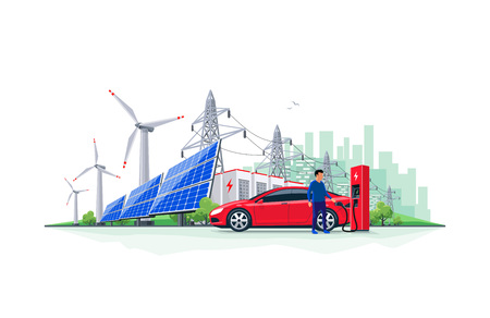 Vector illustration of electric car charging at charger station with solar panels, wind turbines, battery storage, high voltage power grid and city skyline. Sustainable renewable energy grid system.