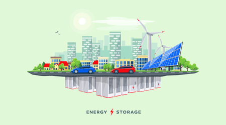 Vector illustration of backup rechargeable lithium-ion underground battery grid storage and renewable solar wind electrical power station with city skyline buildings and cars on the street on island.