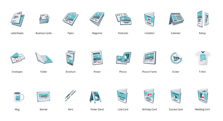 Set of vector printout icons. Brochure, business card, flyer, magazine, postcard, poster, banner, rollup, sticker, mug, folder, other printing shop products. Promotion print advertising materials.