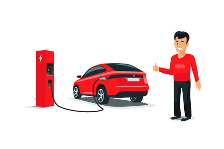 Isolated vector illustration of red electric car suv charging at charger station and smiling person. Young man with smile likes his new battery autonomous sharing vehicle. Future transportation.