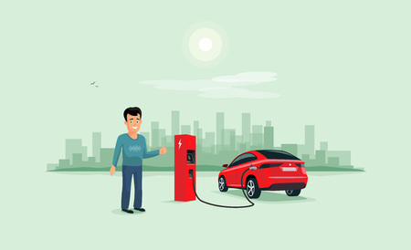 Cartoon vector illustration of red electric car suv charging at charger station and smiling person. Young man with smile likes his new battery autonomous sharing vehicle. City skyline in background.