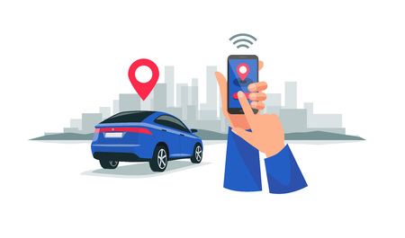Vector illustration of autonomous wireless remote connected car sharing service controlled via smartphone app. Hands holding  phone with location mark of smart electric car in the modern city skyline. 向量圖像