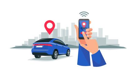 Vektorgrafik eines autonomen, drahtlosen, ferngesteuerten Carsharing-Dienstes, der über eine Smartphone-App gesteuert wird. Hände, die Telefon mit Standortmarkierung des intelligenten Elektroautos in der modernen Skyline der Stadt halten.