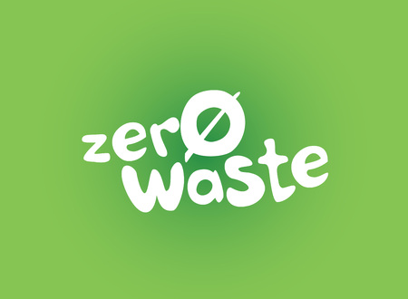 Zero waste handwritten text title sign with green background. Waste management concept isolated illustration on white background.