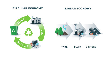 Comparing circular and linear economy showing product life cycle. Natural resources taken to manufacturing. After usage product is recycled or disposed. Waste recycling isolated on white background. 向量圖像