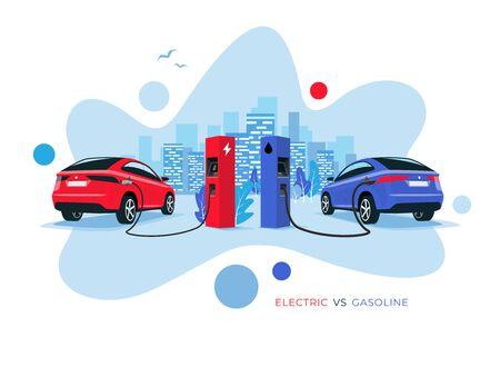 Illustration vectorielle comparant la voiture électrique à la voiture à essence. Recharge de voiture électrique à la station de charge par rapport à la station-service d'essence de voiture fossile. Toits de la ville en arrière-plan. Style moderne de forme fluide. Vecteurs