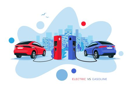 Vector illustration comparing electric versus gasoline car. Electric car charging at charger station vs. fossil car refuel petrol gas station. City skyline in the background. Fluid shape modern style.