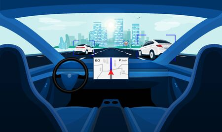 Autonomous smart driverless electric car self-driving on road to city. Vehicle autopilot scanning distance with radar, cameras, sensor. Viewed from the car interior dashboard display. Vector concept.