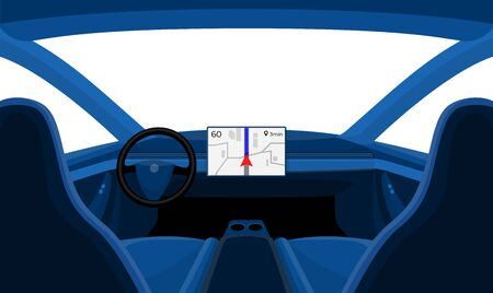 Vector illustration of inside minimalistic car interior with dashboard big display. Rudder cockpit windschield view outside the window. Blue car cabin cartoon style isolated on white background.