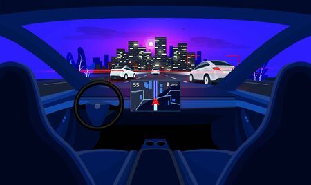 Autonomous autopilot smart driverless electric car self-driving on road to city. Viewed from the car interior dashboard display. Vector cartoon style with night skyline panoramic perspective horizon.