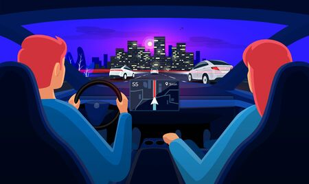Couple driving electric car on highway traffic jam to city. Man driver woman inside car interior on road trip. Dashboard display. Vector cartoon style with night skyline panoramic perspective horizon. 向量圖像