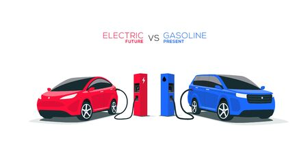 Comparing electric versus gasoline diesel car suv. Electric car charging at charger stand vs. fossil car refueling petrol gas station. Front perspective view. Isolated on white background. Vectores