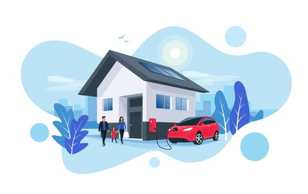 Electric car parking charging at home wall box charger station on house with a family. Renewable energy storage with solar panels and smart city skyline in background. Vector illustration. Foto de archivo - 131620788