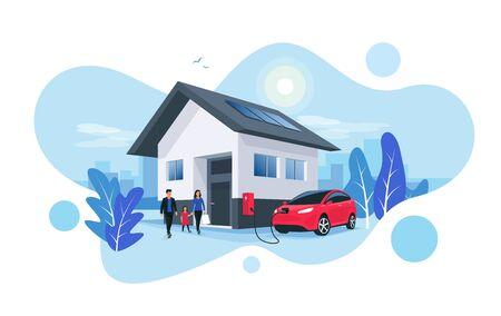 Estacionamiento de automóviles eléctricos que se carga en la estación de carga de la caja de pared de la casa en la casa con una familia. Almacenamiento de energía renovable con paneles solares y el horizonte de la ciudad inteligente en el fondo. Ilustración de vector. Ilustración de vector
