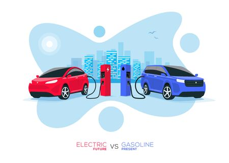 Comparing electric versus gasoline diesel car. Electric car charging at charger stand vs. fossil car refueling petrol gas station. Isolated front perspective view with blue city skyline background.