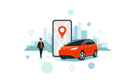 Vector illustration of autonomous online car sharing service controlled via smartphone app. Phone with location mark and smart car with modern city skyline. Isolated connected vehicle remote parking.  向量圖像