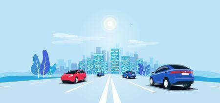 Tráfico en la carretera perspectiva panorámica horizonte punto de fuga vista. Autopista de paisaje urbano de ilustración de estilo de dibujos animados de vector plano con coches, edificios de la ciudad de horizonte y la carretera que va a la ciudad.