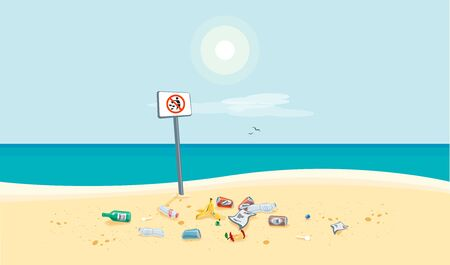 Dirty beach pollution sea view with no littering waste sign. Garbage and trash on the sand beach. Plastic garbage disposed improperly throwing away on the ground. Rubbish fallen near ocean water. Stock Illustratie