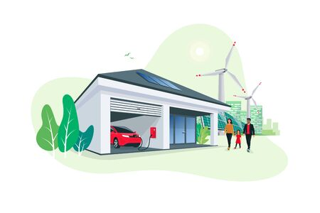 Electric car parking charging at smart house garage wall box charger station stand at family home. Renewable energy solar panels and wind turbines city skyline in background. Vector illustration.