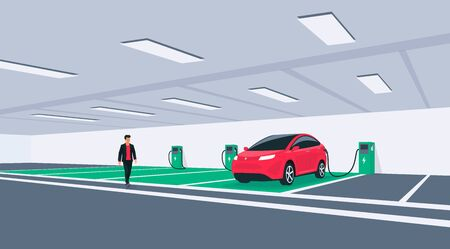 Electric car charging in underground basement garage garage on wall box charger stand. Battery vehicle standing on dedicated parking lot place connected to charging station. Vector illustration.