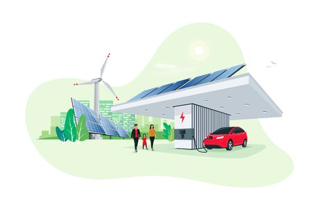 Electric car parking charging at smart modern charger station. Renewable energy storage stand with solar panels wind turbine and city skyline in background. Sustainable eco future transport vector.