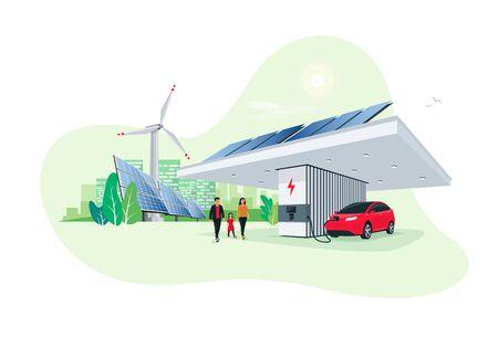 Stationnement de voiture électrique en charge à la station de charge moderne et intelligente. Support de stockage d'énergie renouvelable avec éolienne à panneaux solaires et toits de la ville en arrière-plan. Vecteur de transport futur éco durable. Vecteurs