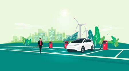 Electric car charging on charger station on rest area road highway to city. Battery vehicle standing on dedicated parking lot. Vector illustration with sustainable renewable solar panel wind power.  イラスト・ベクター素材