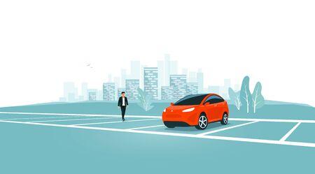 Parking solitaire seul sur un parking vide avec un homme s'approchant du véhicule. Place de parc de voyage sur l'aire de repos près de l'autoroute vers la ville. Personne près de la voiture. Toits de la ville en arrière-plan. Vecteurs