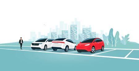 Parking moderne debout sur un parking vide ou plein avec un homme marchant près du véhicule. Place de parc de voyage sur l'aire de repos près de l'autoroute vers la ville. Personne en voiture. Toits de la ville en arrière-plan. Vecteurs