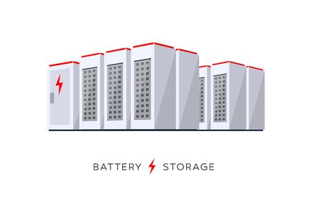 Vector illustration of large rechargeable lithium-ion battery energy storage stationary for renewable electric power station generation. Backup power energy storage cloud system on white background. Çizim