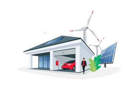 Electric car parking charging at smart house garage wall box charger station stand at family home. Renewable energy solar panel roof and wind turbines in background. Isolated vector illustration.  Çizim