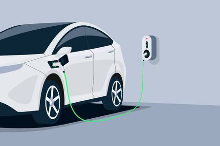 Electric car charging in underground garage home plugged to charger station. Battery EV vehicle standing parking lot connected to wall box. Close up vector being charged with power supply socket.