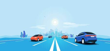 Traffic on the highway panoramic perspective horizon vanishing point view. Flat vector cartoon style illustration urban landscape motorway with cars, skyline city buildings and road going to the city. Çizim
