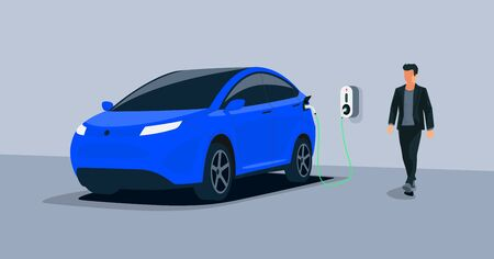 Electric car charging in underground garage home plugged charger station. Vector illustration battery EV vehicle standing parking connected to wallbox. Vehicle being charged with power supply socket.  Çizim