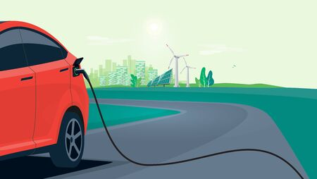 Electric car charging on city street skyline. Vector illustration battery EV vehicle plugged and getting electricity from renewable power generations solar panel, wind turbine. Vehicle being charged.