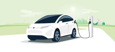 Voiture électrique sur la station de recharge avec les toits de la rue verte de la ville. Véhicule EV à batterie branché et alimenté en électricité à partir de panneaux solaires, d'éoliennes et de générateurs d'énergie renouvelable. Véhicule en cours de charge. Vecteurs