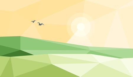 Vector illustration of stylized low poly triangular landscape with green triangular hill with geometric mountain on yellow sky polygonal panoramic background. Sun is shining, birds are flying around. Çizim
