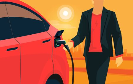Electric car charging on orange city street skyline landscape. Vector illustration of man hand holding charger plug cable plugged in battery EV vehicle. Modern red automobile being charged by driver.