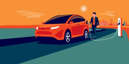 Electric car charging on city skyline landscape, renewable power generation solar panel, wind turbine. Vector illustration of man hand holding charger station plug cable plugged in battery EV vehicle.