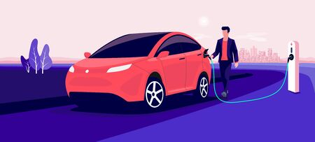 Electric car charging on pink city skyline landscape. Vector illustration of man hand holding charger station plug cable plugged in battery EV vehicle. Modern automobile being charged by driver.