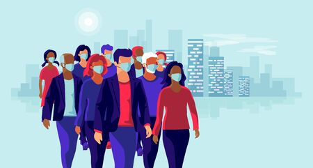 Group of people wearing protection medical face mask to protect and prevent virus, disease, flu, air pollution, contamination. Old man woman child walking. Vector illustration with city skyline. Çizim