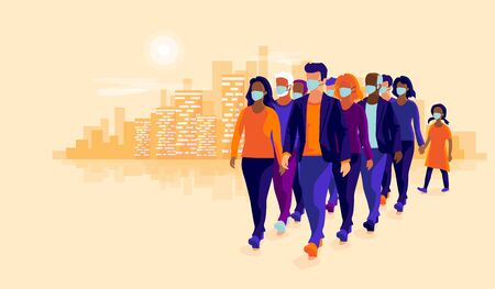 Group people wearing protection medical face mask to protect and prevent corona virus, disease, flu, air pollution, contamination. Old man woman child walking. Vector illustration sunset city skyline. Çizim